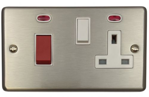 G&H CSS29W Standard Plate Brushed Steel 45 Amp DP Cooker Switch & 13A Switched Socket